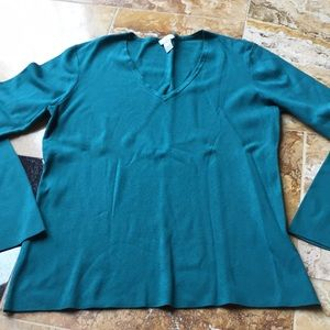 Emerald/teal VNeck stretch/Very basic knit sweater
